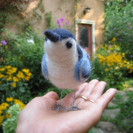 Blue felted bird