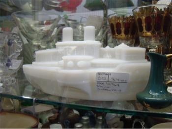Milk glass battleship