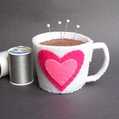 Coffee cup pincushion