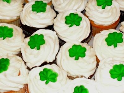 Shamrock cupcakes close up