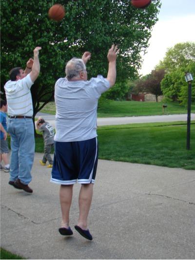 Dad mid air