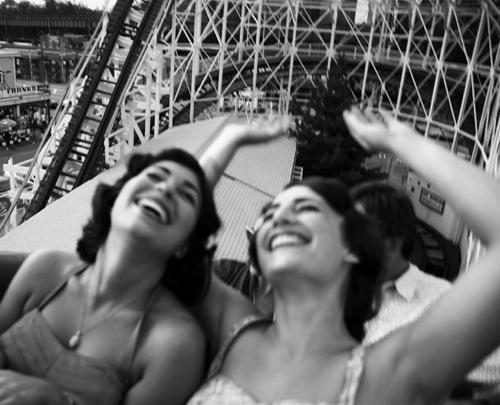 Vintage roller coaster girls