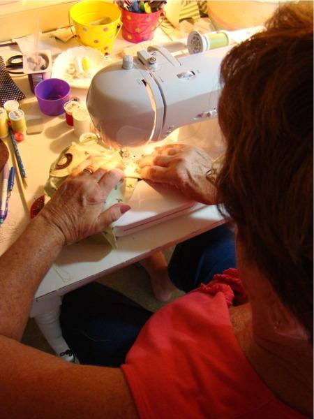Mom sewing owls