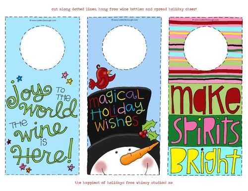 Holiday wine gift tags wm