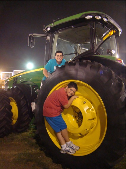 Boys on tractor