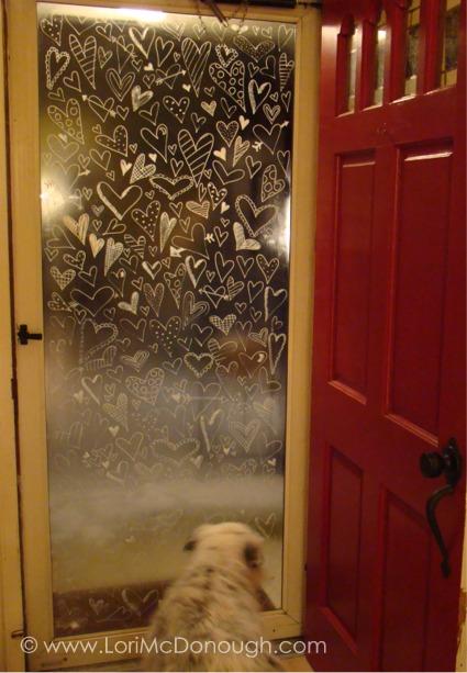 Heart door with kizz