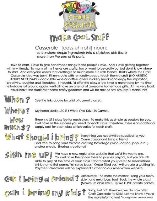 Craft Casserole Information for blog image