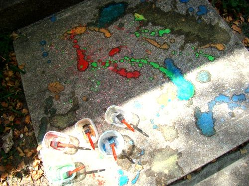 Sidewalk paint splatter