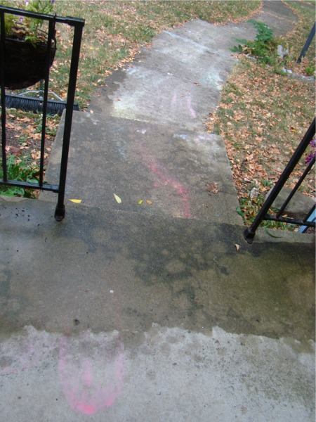 Sidewalk paint after rain
