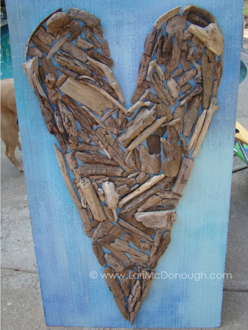 Driftwood heart outside
