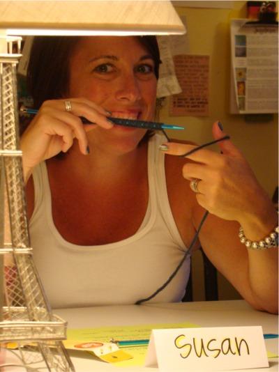 Susan knitting