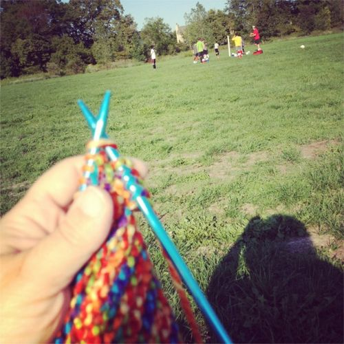 Knitting at soccer