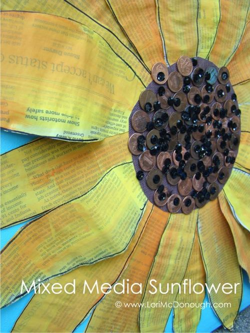 Cc mixed media sunflower 2 wm