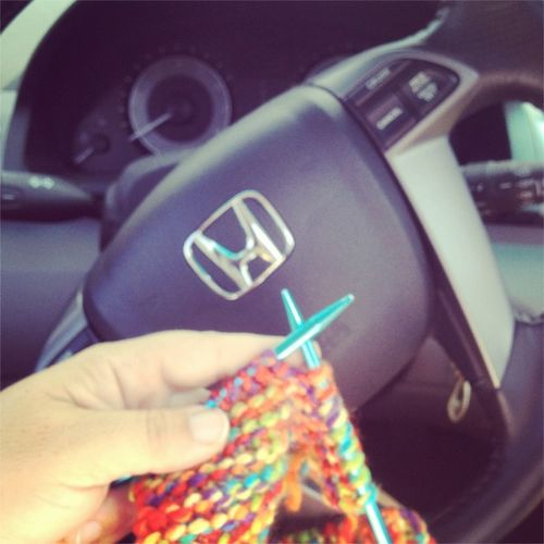 Knitting in van