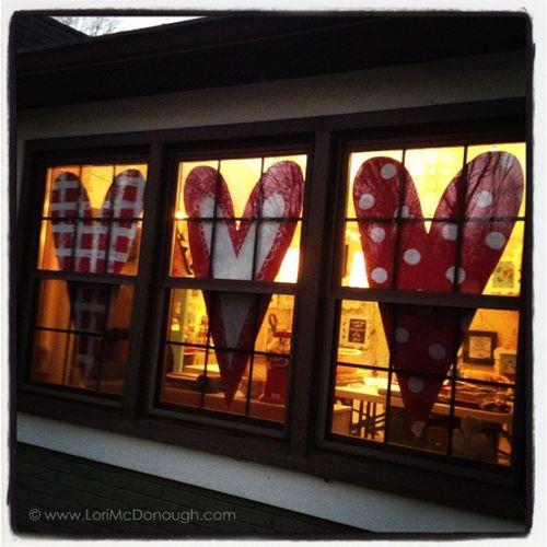 Window hearts outside