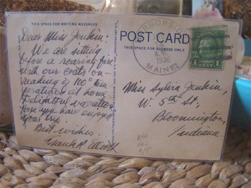 Vintage postcard message