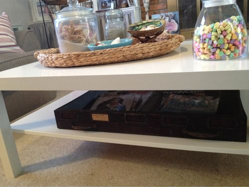 Coffee table with vintage drawer
