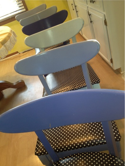 6 blue chairs