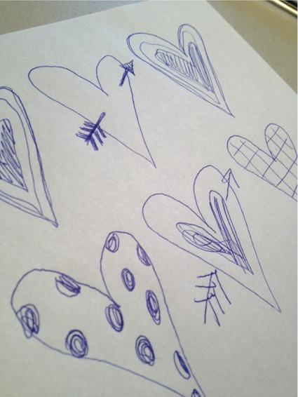 Window heart doodles