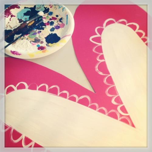 Window hearts painting