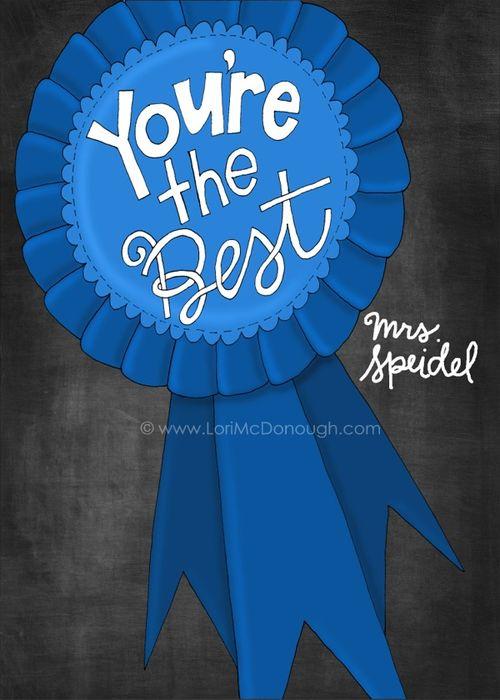 Blue ribbon print 5x7 personalized