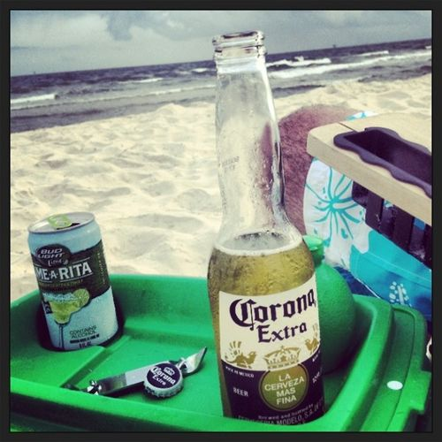 Beverages on beach