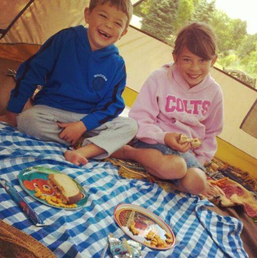 Nanny mcd picnic in a tent