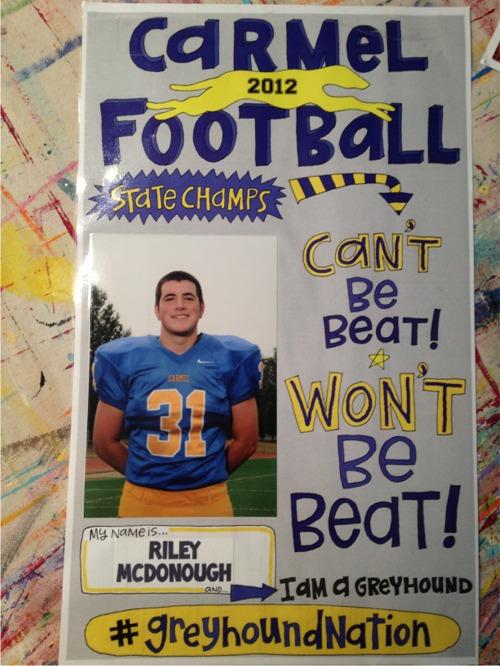 Riley jr football locker sign