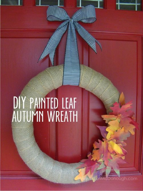 Diy painted leaf autumn wreath