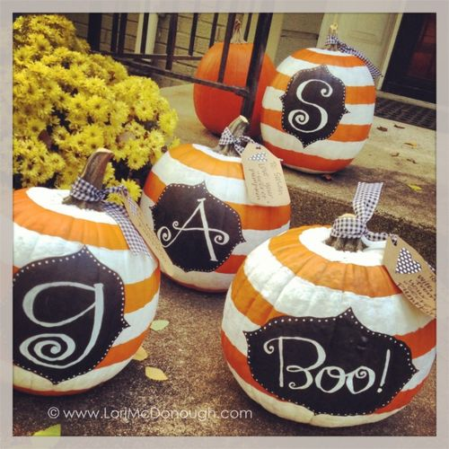 Striped monogram pumpkins