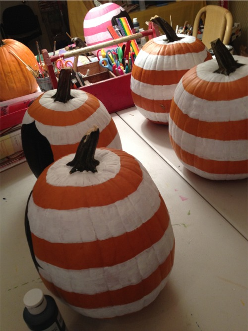 Striped pumpkins on my table