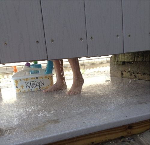 Cape cod outside shower feet