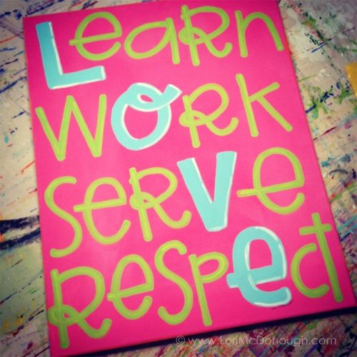 Learn work serve sign