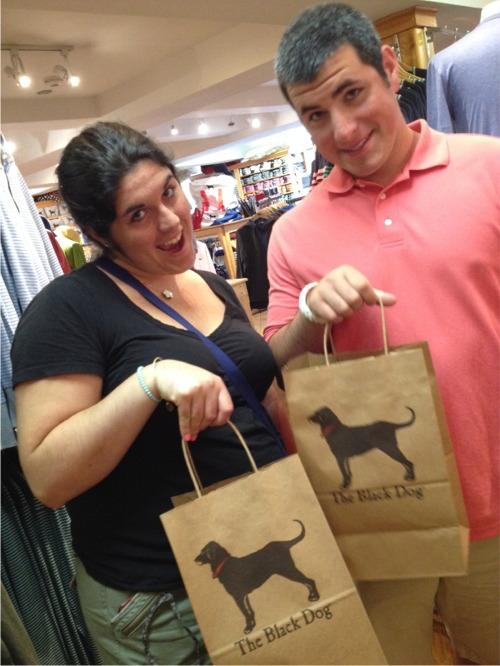 Cape cod black dog shopping