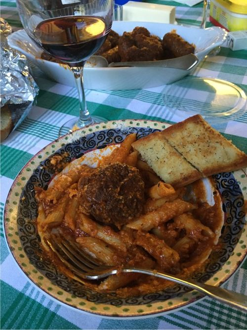Macaroni and meatballs