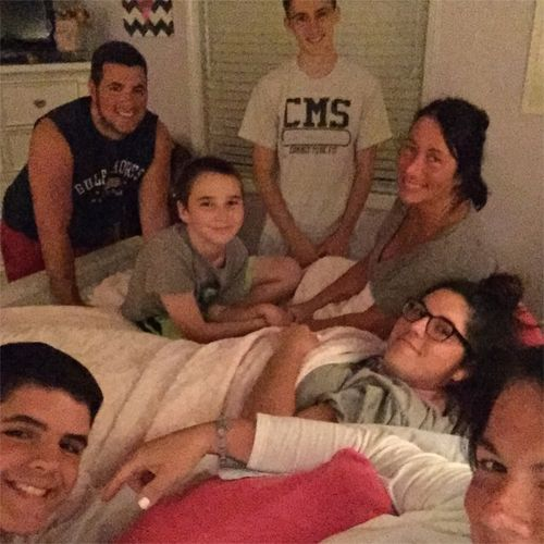 Cousins on the bed